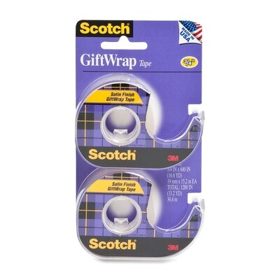 "3M Gift Wrap Tape, w/ Dispenser, 3/4""x600"", 2 per Pack, Transparent"