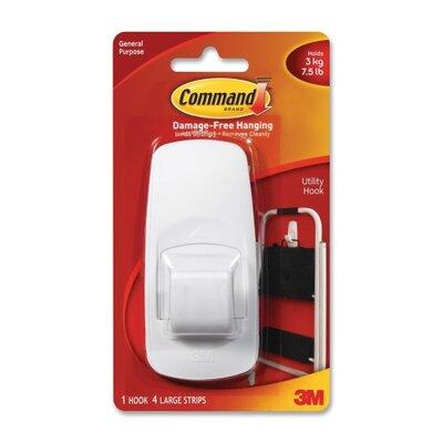 3M Jumbo Hooks, Adhesive, 1 Hook/4 Strips, 7-1/2 lb Capacity, White