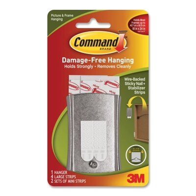 3M Wire Backed Hanger w/Adhes, Sticky Nail, Holds 6lbs.