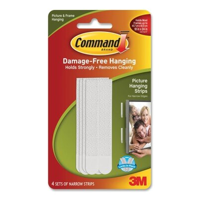 3M Picture Hanging Strips w/Adhes, Narrow, 4 per Pack, White