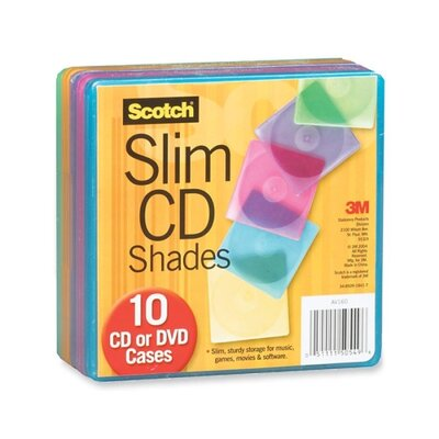 3M Slim CD Shades for CDs/DVDs, 10 per Pack, Assorted Colors