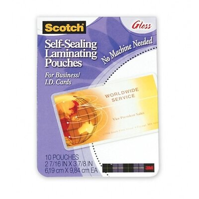 "3M Self-Sealing Laminating Pouches, 10 per Pack, 2-7/16""x3-7/8"", Clear"