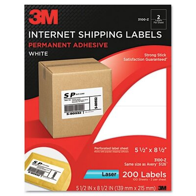 3M Permanent Adhesive Mailing Label/Laser Printer in White (200 Per Pack)