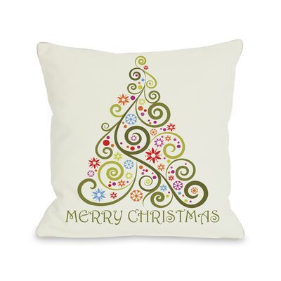 OneBellaCasa.com Holiday Merry Christmas Whimsical Tree Pillow