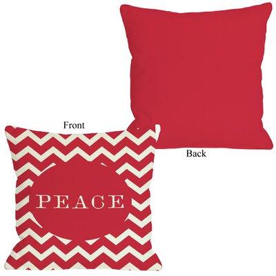 One Bella Casa Holiday Peace Chevron Stripe Pillow
