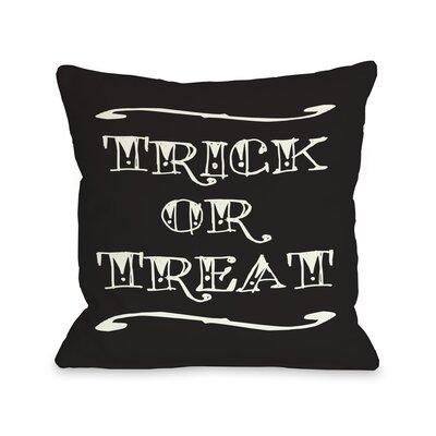 One Bella Casa Trick or Treat Tattoo Letters Pillow