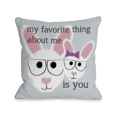 OneBellaCasa.com Favorite Thing About Me Bunnies Pillow
