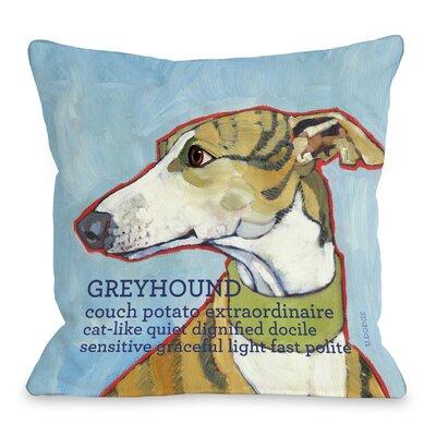 OneBellaCasa.com Doggy Décor Greyhound 1 Throw Pillow