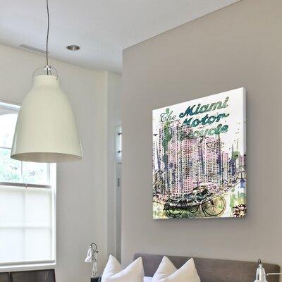 """One Bella Casa """"Miami Motorcycle"""" Vintage Advertisement on Canvas"""