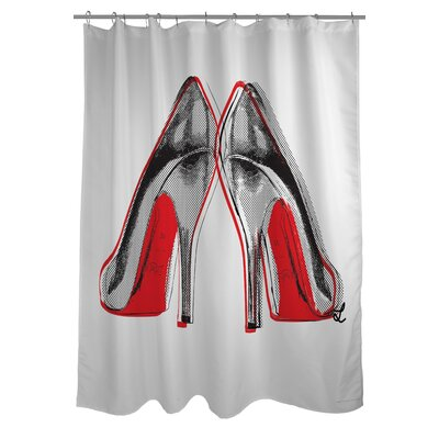 OneBellaCasa.com Oliver Gal Fire in Your New Shoes Polyester Shower Curtain