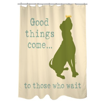 OneBellaCasa.com Doggy Decor Good Things Come Polyester Shower Curtain
