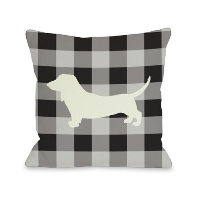 One Bella Casa Doggy Décor Gingham Silhouette Doxie Pillow