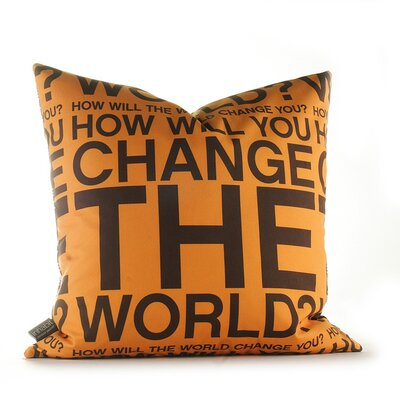 Inhabit Change the World Pillow in Orange and Chocolate