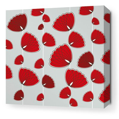 Aequorea Floating Lotus Graphic Art on Canvas in Silver and Scarlet