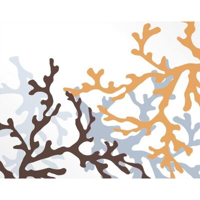 Inhabit Coral Stretched Wall Art in Aqua