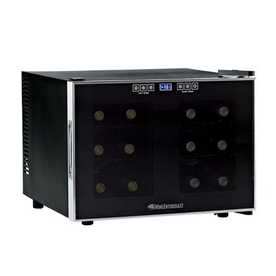 Wine Enthusiast Companies Silent 12 Bottle Dual Zone Touchscreen Wine Refrigerator