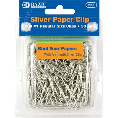 Bazic No.1 Regular (33mm) Silver Paper Clip Set