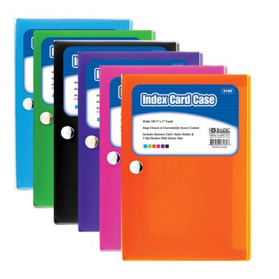 Bazic Index Card Case with 5-Tab Divider