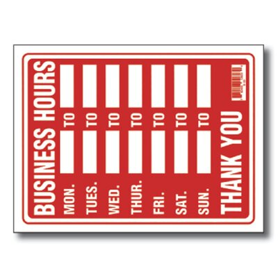 Bazic Business Hours Sign (Set of 24)