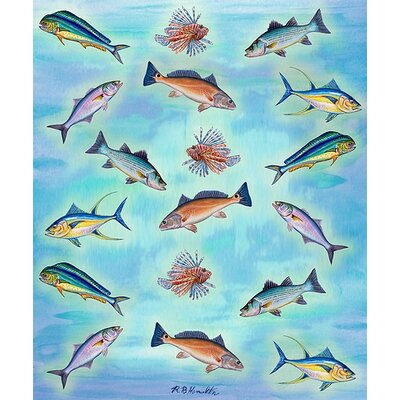 Betsy Drake Interiors Assorted Fish Polyester Throw