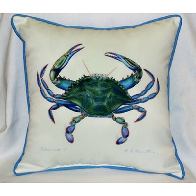 Betsy Drake Interiors Coastal Male Crab Indoor / Outdoor Square Pillow