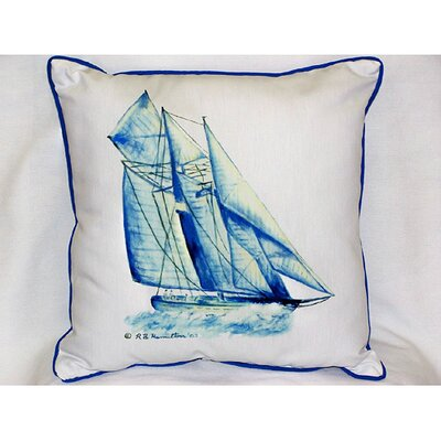 Betsy Drake Interiors Coastal Blue Sailboat Indoor / Outdoor Pillow