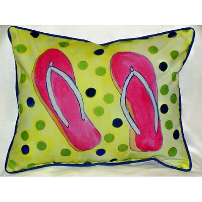 Betsy Drake Interiors Coastal Flip Flops Indoor / Outdoor Pillow