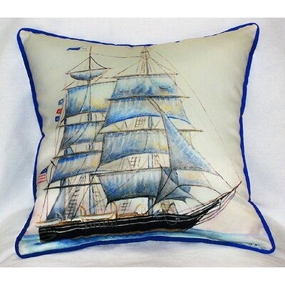 Betsy Drake Interiors Coastal Whaling Ship Indoor / Outdoor Pillow