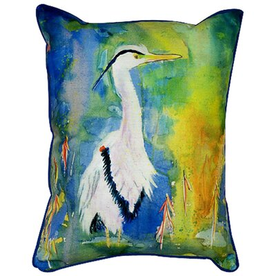 Betsy Drake Interiors Coastal Heron Indoor / Outdoor Pillow