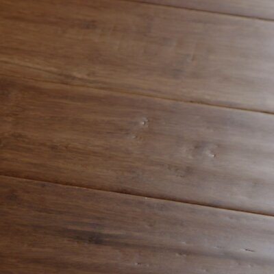 "Islander Flooring Hand-scraped 4"" Engineered Strand Bamboo Flooring in Carbonized"