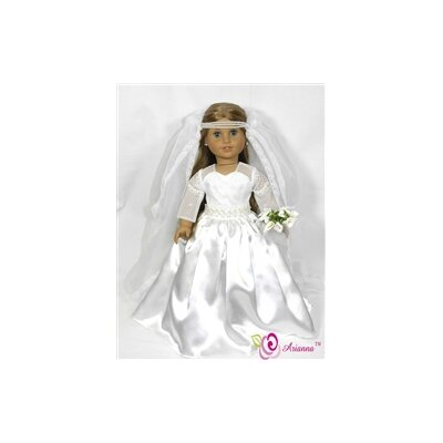 "Arianna Royal Bride Wedding Doll Dress for 18"" American Girl Doll"