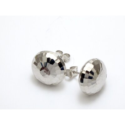 Modern Silver Designs Sterling Silver Faceted Button Earrings