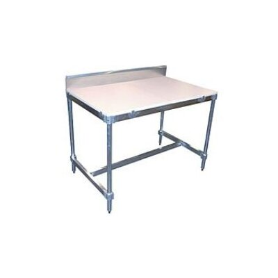 "PVIFS 34"" Aluminum I Frame Work Table with Back Splash and Poly Top"
