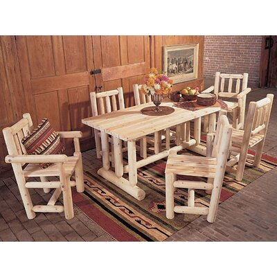 Rustic Natural Cedar Furniture Harvest 7 Piece Dining Set