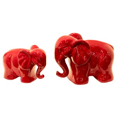 Urban Trends Ceramic Elephant 2 Piece Set