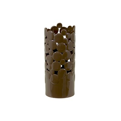 Urban Trends Brown Ceramic Vase Cut Design