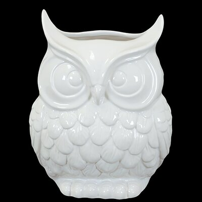 "Urban Trends 9"" White Ceramic Owl Statue"