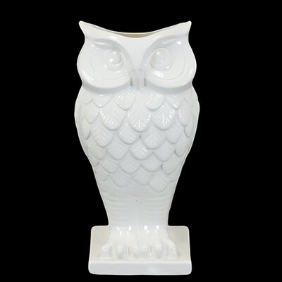 Urban Trends Ceramic Owl Vase With Base Gloss White
