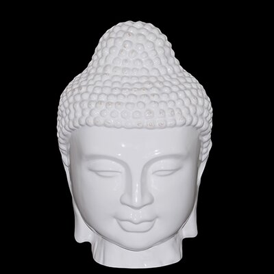 "Urban Trends 11"" White Ceramic Buddha Head Statue"