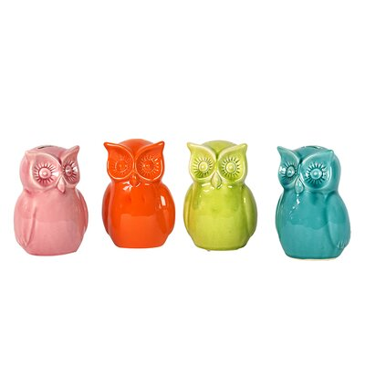 Urban Trends Ceramic Owl Banks (Set of 4)