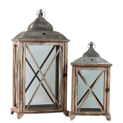 Urban Trends Wooden Lantern (Set of 2)