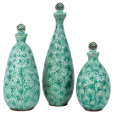 <strong>Urban Trends</strong> 3 Piece Home and Garden Accents Decorative Bottle Set