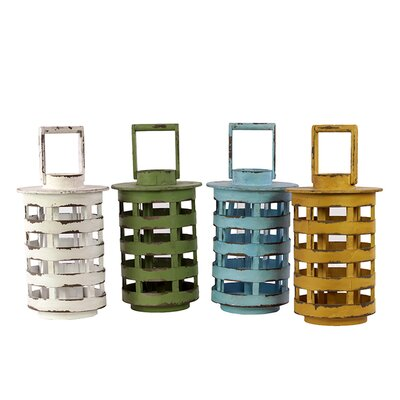 Urban Trends 4 Piece Wooden Lantern Set