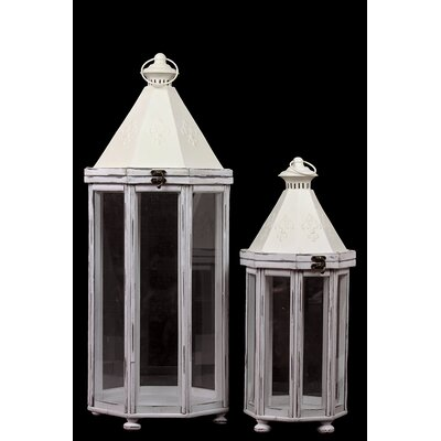 Urban Trends 2 Piece Wooden Lantern Set
