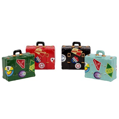 Urban Trends Ceramic Suitcase Money Banks (Set of 4)