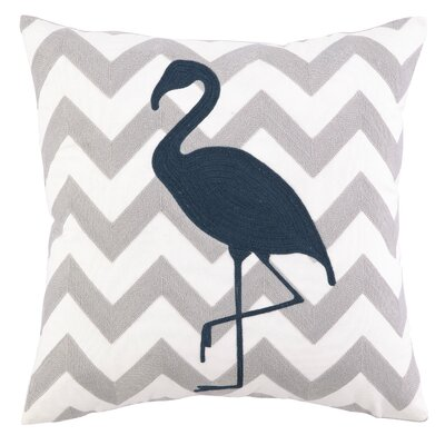 Peking Handicraft Nautical Embroidery Flamingo Pillow
