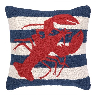 Peking Handicraft Nautical Hook lobster Stripe Pillow