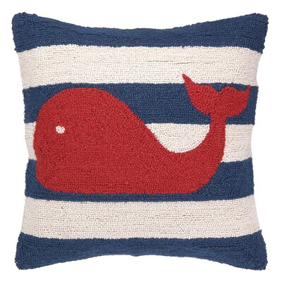 Peking Handicraft Nautical Hook Whale Stripe Pillow