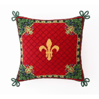 Christmas Stag Fleur De Lis Wool / Cotton Pillow