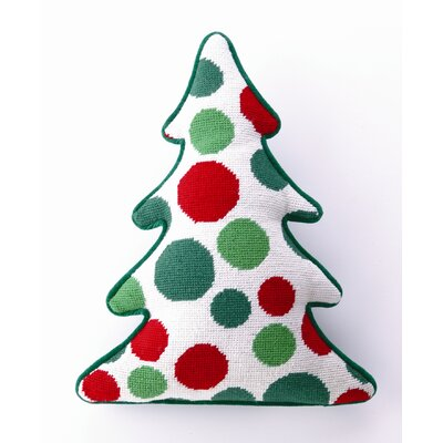 Peking Handicraft Dots Tree Shaped Wool / Cotton Pillow